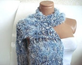 ON SALE CLEARANCE Blue Hand Knit Scarf Fur feather High Fashion Scarf for women nice accessory and gift