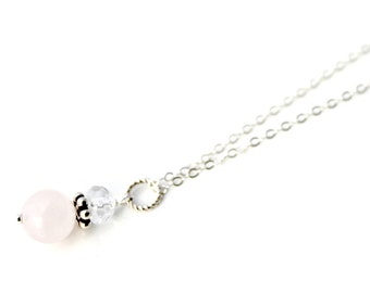 Rose Quartz and Crystal Sterling Silver Necklace / Delicate Silver Jewelry / Gifts under 30