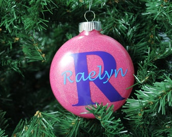 Pink and Purple Glitter Personalized Monogram Glass Ornament