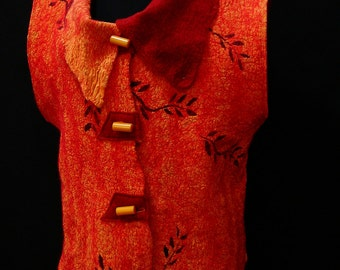 On Fire orange brick vest vintage bakelite buttons