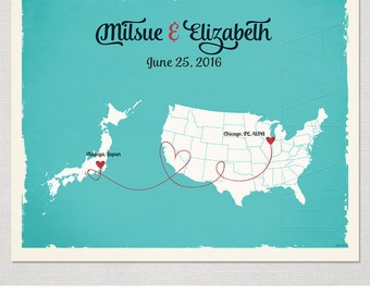 Custom Wedding Print Destination Wedding Gift  Memento Marriage Couple Print Alternative Signature Guest Books Japan-USA Signature Map
