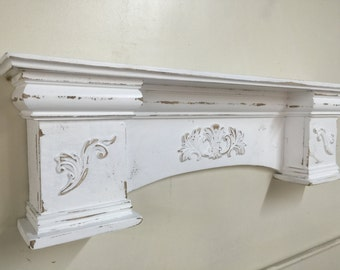 French Country Mantle, Primitive Mantle, Fireplace Mantel, Shabby Style Mantel Shelf,Architectural Salvage Mantel,Fireplace Mantle,