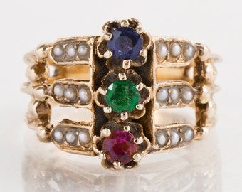 Antique Ring - Antique 14k Yellow Gold Sapphire, Emerald & Ruby Ring