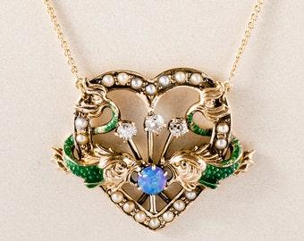 Antique Necklace - Antique Art Nouveau 14k Yellow Gold Enamel, Opal, Diamond & Seed Pearl Fish Conversion Necklace
