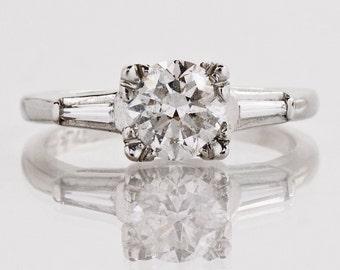 Vintage Engagement Ring - Vintage Platinum Diamond Engagement Ring