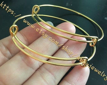 100pcs 64mm gold/sliver/White K adjustable round bangle bracelets blanks