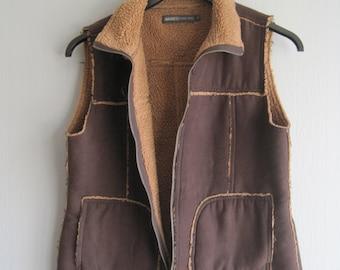 Vest Top, Tank Vest Top, Brown Vest Suede Look Faux Fur , Womens Vest, Vintage 90s Vest Top Sleeveless 90s Clothes Size S Vest Bohemian Boho