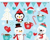 50% OFF SALE Clipart - Christmas / Winter Time / Snowman - Digital Clip Art (Instant Download)