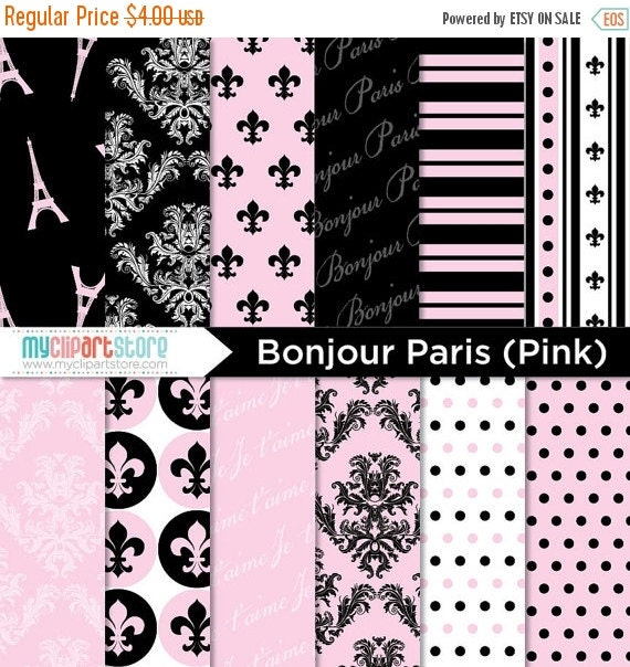 50% OFF SALE Digital Paper - Bonjour Paris (Pink) - Instant download