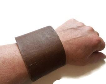 Large Heavy Duty Leather Cuff Bracelet