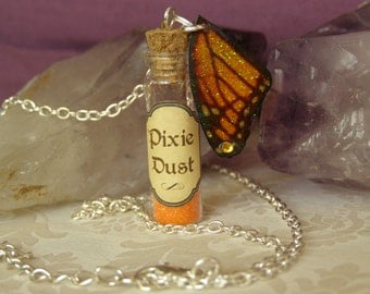Orange Pixie Dust Bottle Pendant, With Magical Fairy Wing Charm, New