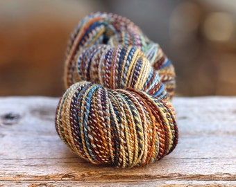 "OVERSIZED skein--Handspun Yarn Worsted Weight Mixed Fibers ""High Uintas""  307 yds."