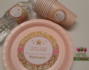 Pink and gold Twinkle Twinkle little star plates, cups and water bottle lables