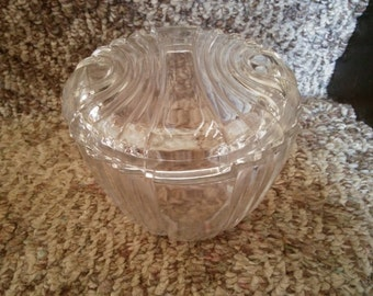 Vintage Covered Candy Dish - Covered Crystal Dish - Nut Dish - Terrarium