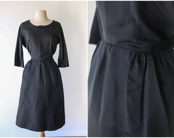 Classic Black Mad Men Dress - Vintage 1960's Little Black Dress with 3/4 Sleeves - Size Medium