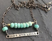 Quote gemstone bar necklace - 'live love laugh' Amazonite beaded jewelry, inspirational words, gift for her by mollymoojewels