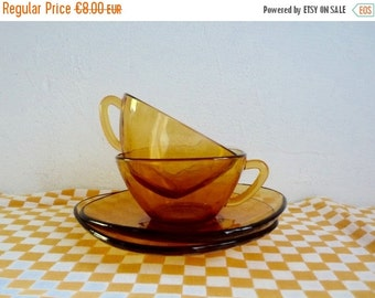 BLACK FRIDAY  SALE Vintage set of 2 Amber Glass Cup and Saucers, Vereco France, Clear Yellow/ Brown glass.
