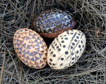 Rustic Eggs , Rustic  Decor , Fine Art Ceramics ,Ceramic Sculpture