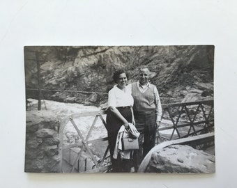 Vintage Photo of Older Couple in Royal Gorge Colorado 1940s Camping Trip