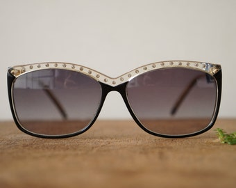 Vintage Safilo Sunglass Two-tone With rhinestones Made in Italy 1990's