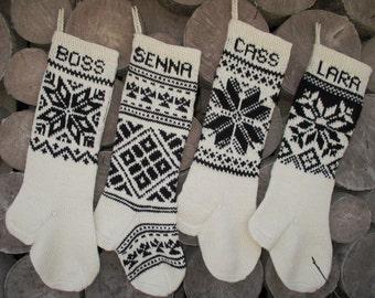 Christmas Stocking Personalized Black  White Hand knit Snowflake ornament  Christmas decoration Christmas gift
