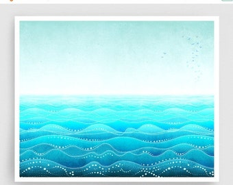 20% OFF SALE: Through all ages (landscape) - Art Illustration Print Poster Home decor Nature prints Kids wall art Love Turquoise sea prints