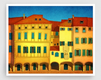 Italian facade - Italy illustration Art Home decor Wall decor Print Poster Drawing Modern Architectural drawing Travel poster Yellow Houses
