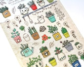 Garden Stickers - Plant Stickers - Potted Plants Stickers - Korean Stickers - Korean Stationery  - 1 sheet