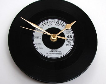 """The SPECIALS Vinyl Record Clock from recycled 7"""" single """"Nite Klub"""", feat Rico, Mod Two Tone Ska northern soul black and silver"""