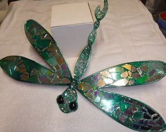 Dragonfly Wall Hanging- Dichroic Glass and Copper