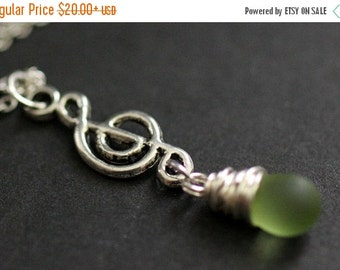 BACK to SCHOOL SALE Frosted Green Teardrop Necklace. Musical Note Necklace. Music Necklace. Treble Clef Necklace in Silver. Handmade Jewelry