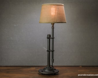 Merveilleux Burlap Shade Lamp   Table Lamp   Edison Table Lamp   Industrial Lighting    Iron Pipe