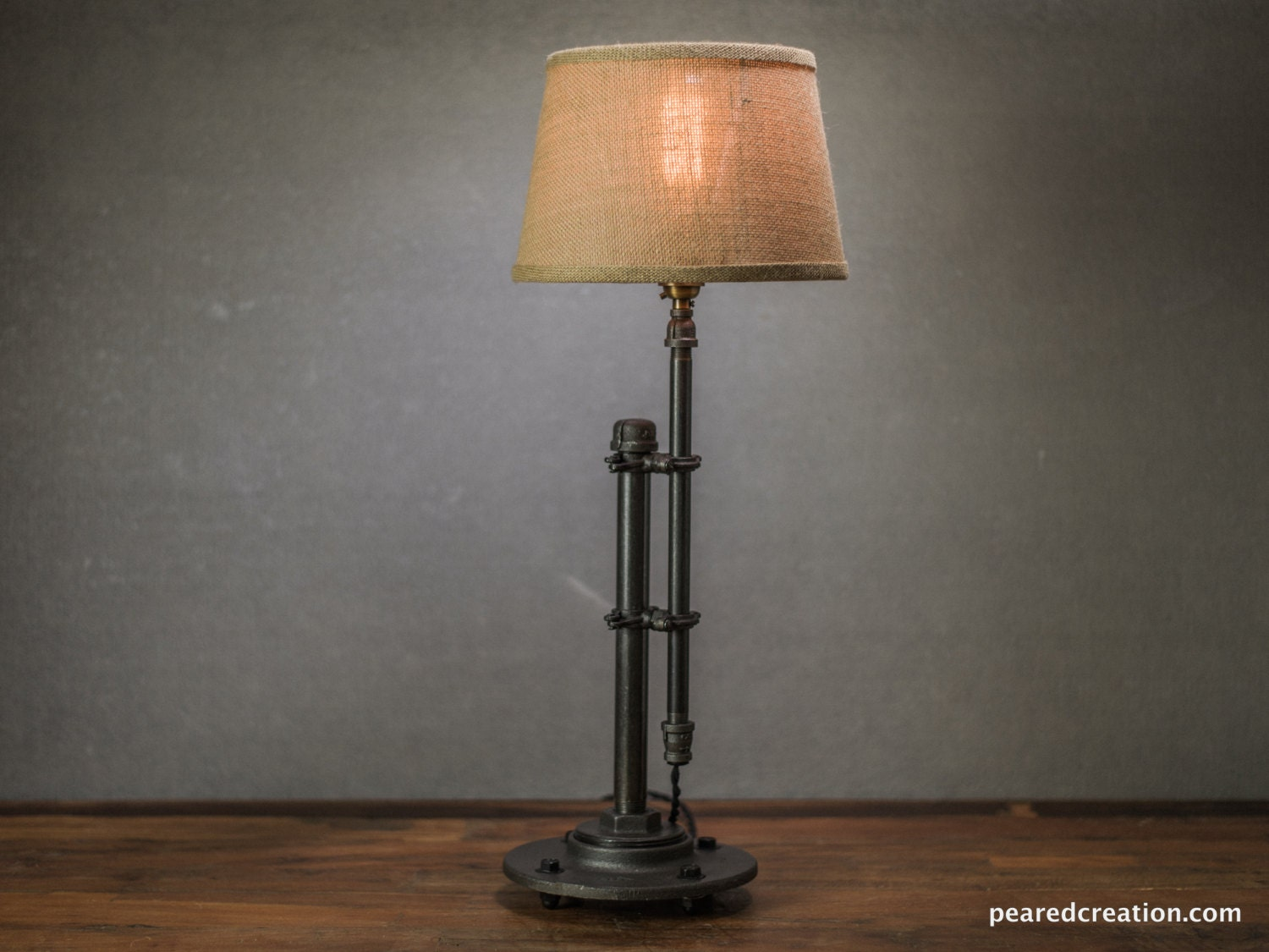 burlap shade lamp table lamp edison table lamp. Black Bedroom Furniture Sets. Home Design Ideas