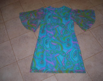 60's  chiffon psychedelic shift dress with pleated angel sleeves, aqua, pink,green, lavender print, Mad Men go-go , retro