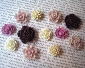 Resin Flower Cabochons, 12 pcs, Cabochon Flowers in Purples, Ivory and Tan, Resin Roses, Dahlias, Sakura, Perfect for DIY Jewelry Projects