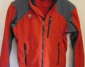 vintage, Mountain Hardwear burnt red fleece full zip jacket with under arm zip vents glove hooks zip pockets mens size M
