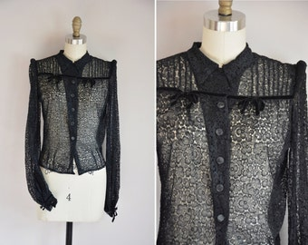 30s Madame Hollywood blouse/ vintage 1930s lace top/structured shoulders lace top