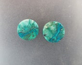 "Malachite Chrysocolla 3/4"", 19mm, 13mm thick one pair ear plugs"
