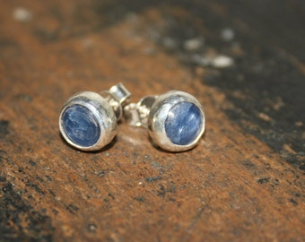 Kyanite Stud Earrings, Blue Post Earrings, Blue Kyanite Earrings, Blue Gemstone Earrings, Kyanite Jewelry, Sterling Silver,