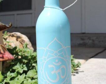 Sky Blue Incense Bottle with Om & Flower Mandala