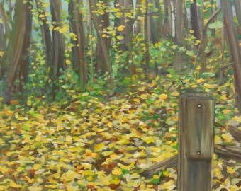 "Percy Warner Park Leaves in Nashville: ORIGINAL 16""x20"" Acrylic on Canvas"