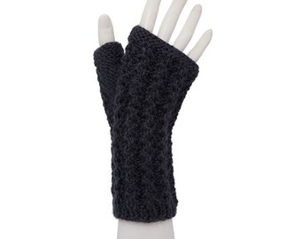 Pure alpaca fingerless mittens
