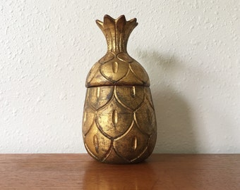 Hollywood Regency Gilt Italian Ceramic Pineapple