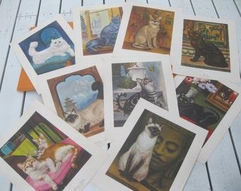 SALE!! 1965 Cat Prints , Girard Goodenow Cat Prints , 9 Large Cat Prints