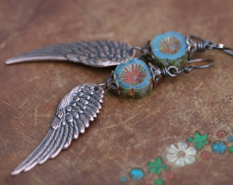 Boho Tribal 'Angel Wings' earrings n.20-antique copper wing . lead and nickel free . boho wings earrings . long artisan . blue Czech flower