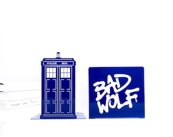 Metal bookends Tardis Police Box Blue Phone Booth with Bad Wolf Graffiti Dr Who inspired / Book holders for TV series fans / FREE SHIPPING