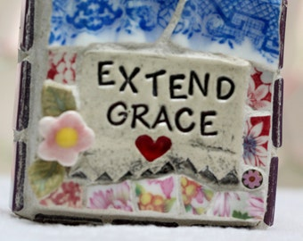 EXTEND GRACE mixed media, one of a kind mosaic art.