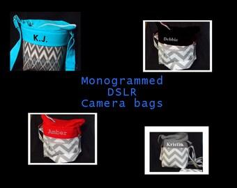 Monogrammed DSLR Camera Bag \ Canon Nikon Sony Pentrax \ Camera Case \ SLR Camera Bag \ Camera Purse \ Water Resistant \ 6x5x8 Camera Bags