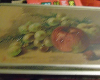 vintage red and gold apple green grapes tin