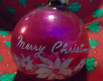 Vintage Merry Christmas with poinsettias deep pink  and white flocked ornament